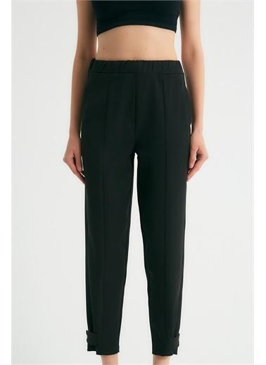 Robin Robin Paça Detaylı Cepli Pantolon Siyah Siyah
